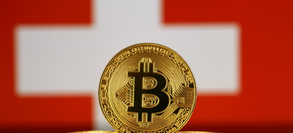 physical version of bitcoin and Swiss flag
