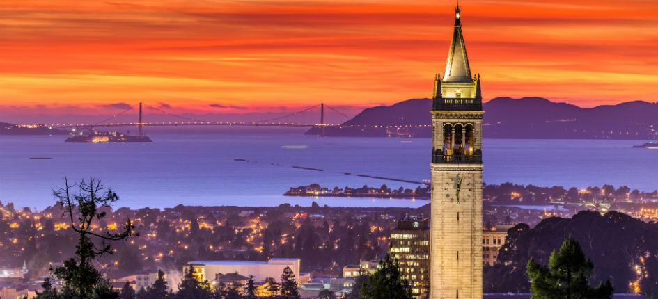 Sather Tower, also known as the Campanile, on the University of California, Berkeley campus, overlooking San Francisco Bay area
