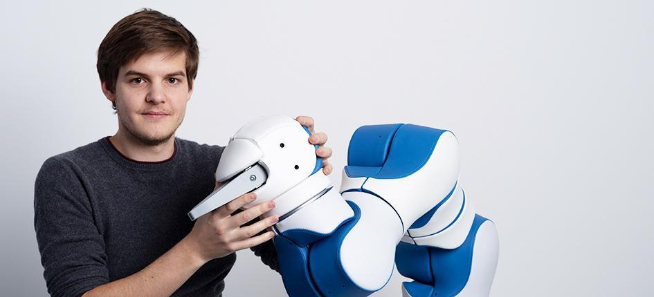 Man with robot