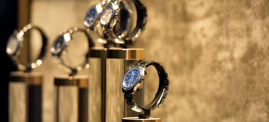 Luxury watches in a shop window