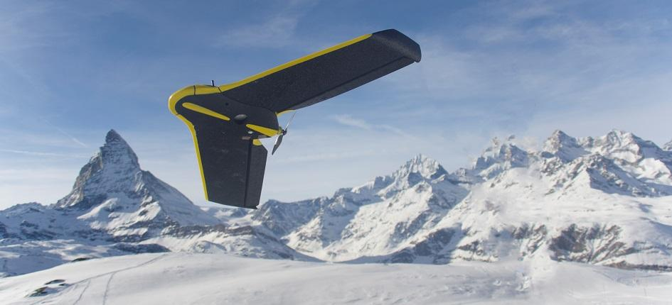 A senseFly drone and the Matterhorn in the background