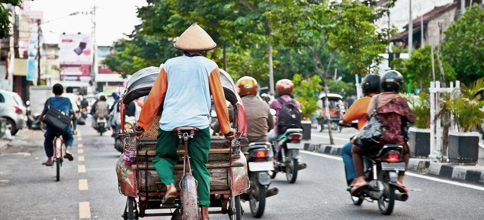 Various motorcycles in Vietnamese traffic situation