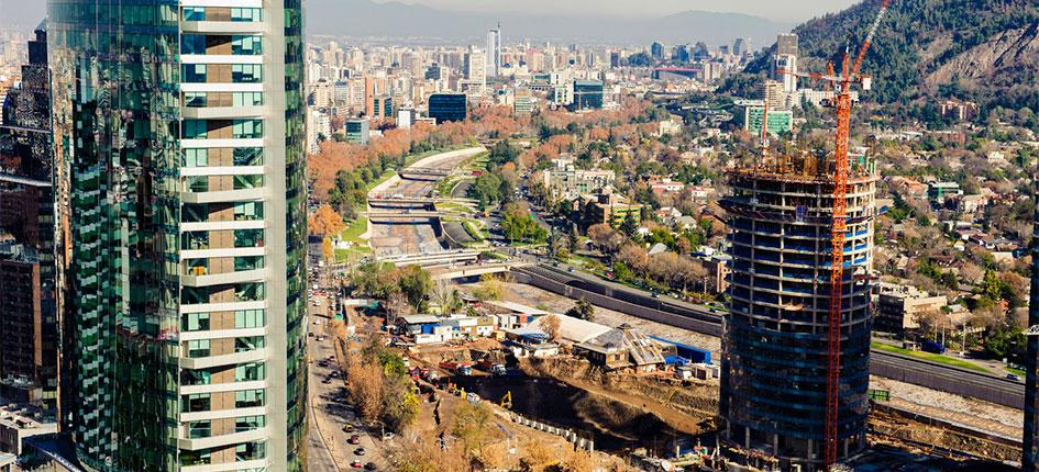 View of the business area of Santiago de Chile and construction of new skyscrapers