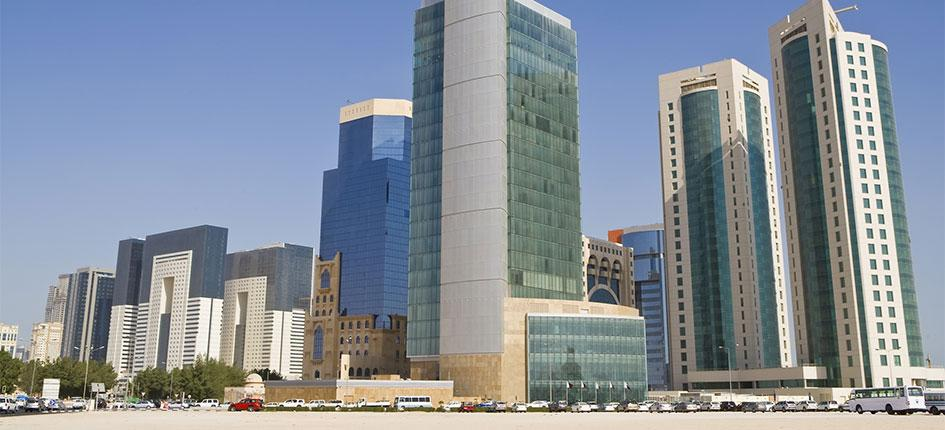 Grattacieli ed edifici adibiti a uffici del Doha Financial District Skyline, in Qatar