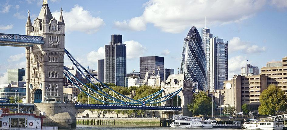 Tower Bridge, Gherkin and the financial district of London, United Kingdom