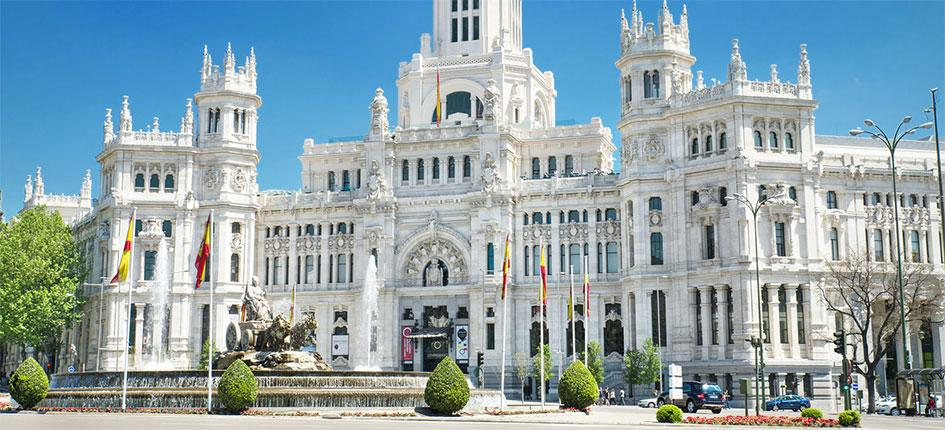 Landmarks Plaza de Cibeles and Palacio de Comunicaciones in Madrid, Spain