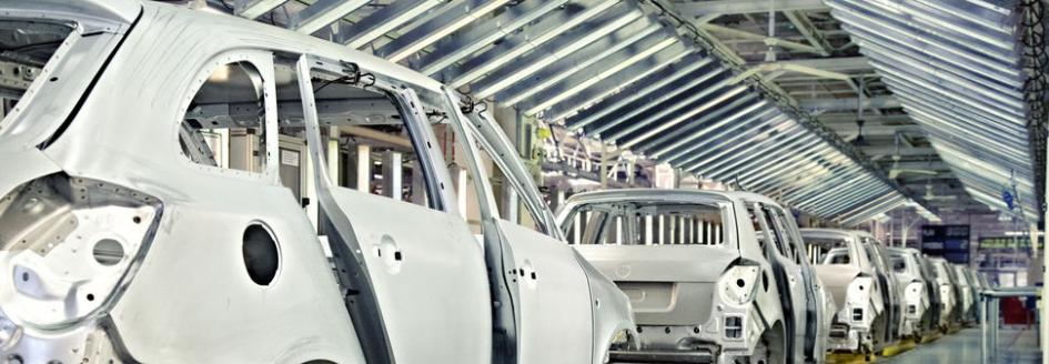 Assembly line production in the automotive industry