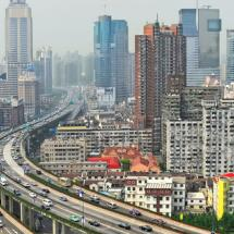 highway and skyscrapers in China