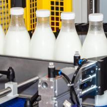 Milk bottles on a production line.