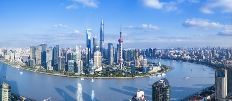 View of Shanghai with blue sky