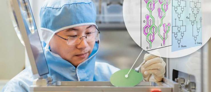 Postdoc Zhaochu Luo with a chip.