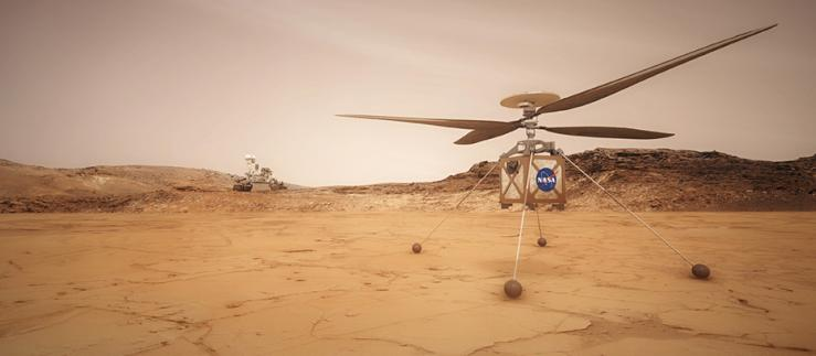 An artistic impression of the Mars helicopter. Image Credit: NASA/JPL-Caltech