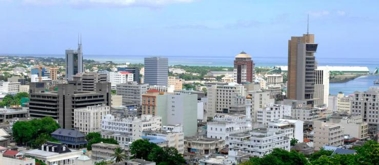 View over a city in Mauritius