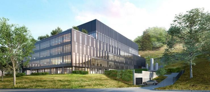 A rendering of Merck's new Biotech Development Center to be built in Corsier-sur-Vevey.