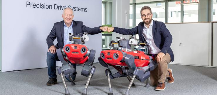 Eugen Elmiger, CEO maxon Group and Peter Fankhauser, CEO ANYbotics.