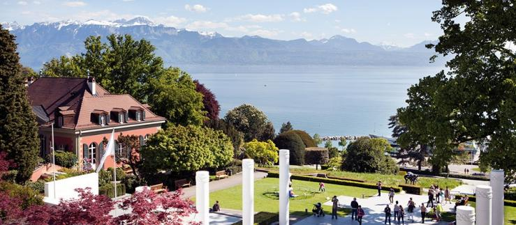 The park of the Olympic Museum in Lausanne