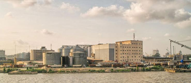Silos of flour in Lagos harbor