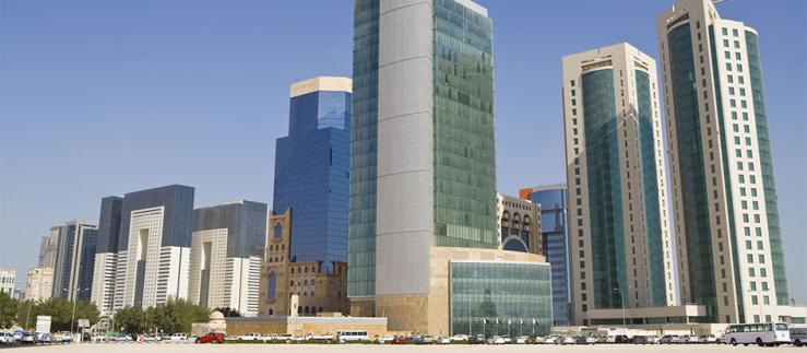 Skyscrapers and office buildings of the Doha Financial District Skyline, Qatar