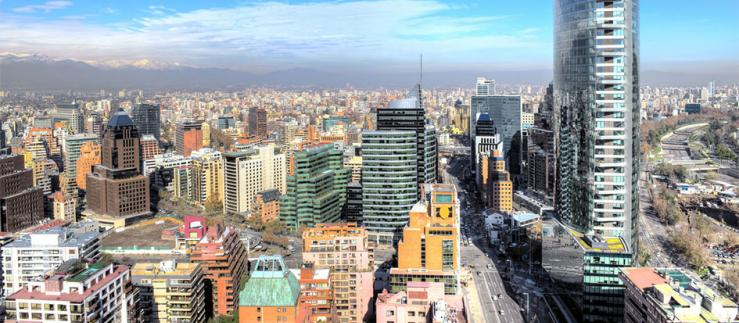 View of the financial center of Santiago de Chile