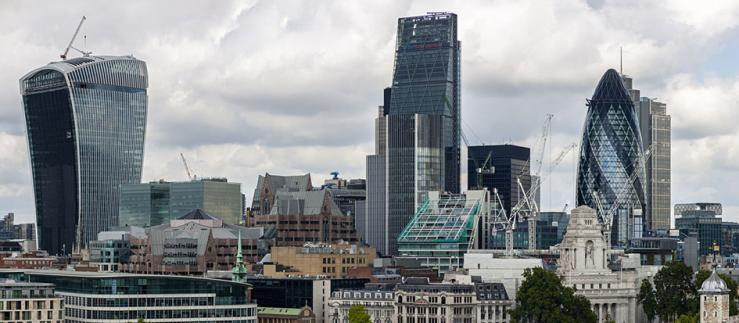 Panoramic view of London's financial district