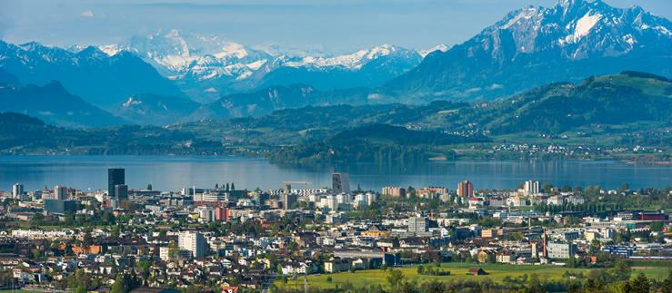 Canton of Zug, view towards the city and the alps