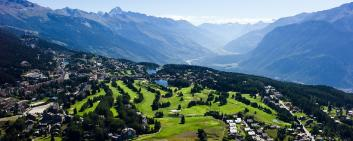 Aerial view of the Swiss Alpine town of Crans-Montana
