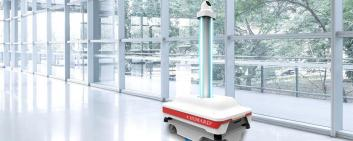 Humard's new robot can disinfect rooms. Image credit: Humard Automation SA