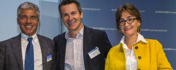 Christoph J. Gum, Co-Founder and CEO of Private Alpha (middle), won the Alpbach FinTech Award 2018 with his company.