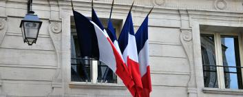 Commercial building with French flags