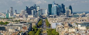 View of Grande Arche de la Défense and business district of Paris, France