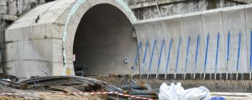 A tunnel entrance under construction.
