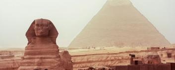 Egypt: Sphinx sculpture and Cheops pyramid
