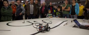 Robots participate in a competition in Rapperswil.