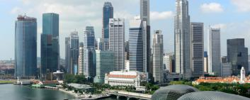 A panoramic view of the business district in Singapore.